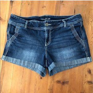 Maurices Dark Jean Shorts w/Folded Cuff Sz 11/12